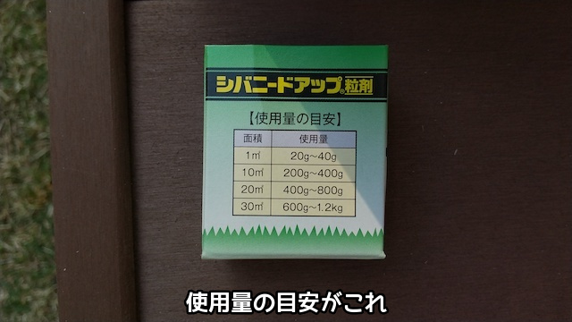 散布容器に書かれた使用量目安
